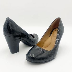 Sofft Madina Faux Snake Black Heels in Size 8.5